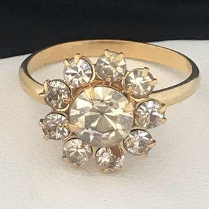 Vintage Ring Gold Tone Prong Set Crystals Retro 4X